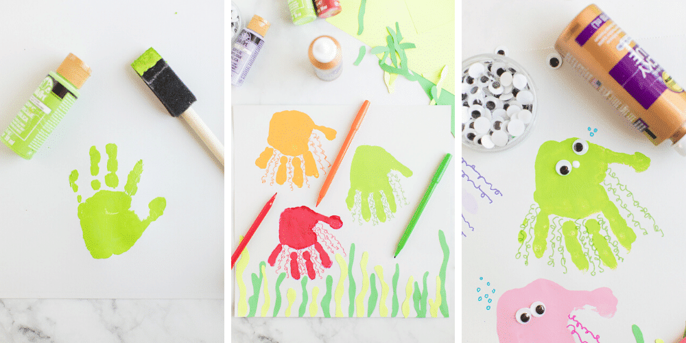 How to make jellyfish handprint. Adding tentacles with coordinating colored pens