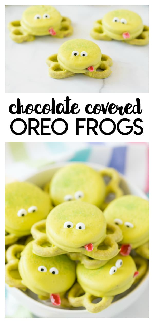 Oreo Frogs: a simple and fun chocolate covered Oreo cookie treat! These little frogs are perfect for the little kids to enjoy making and eating.