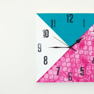 Stenciled Color-Block Clock