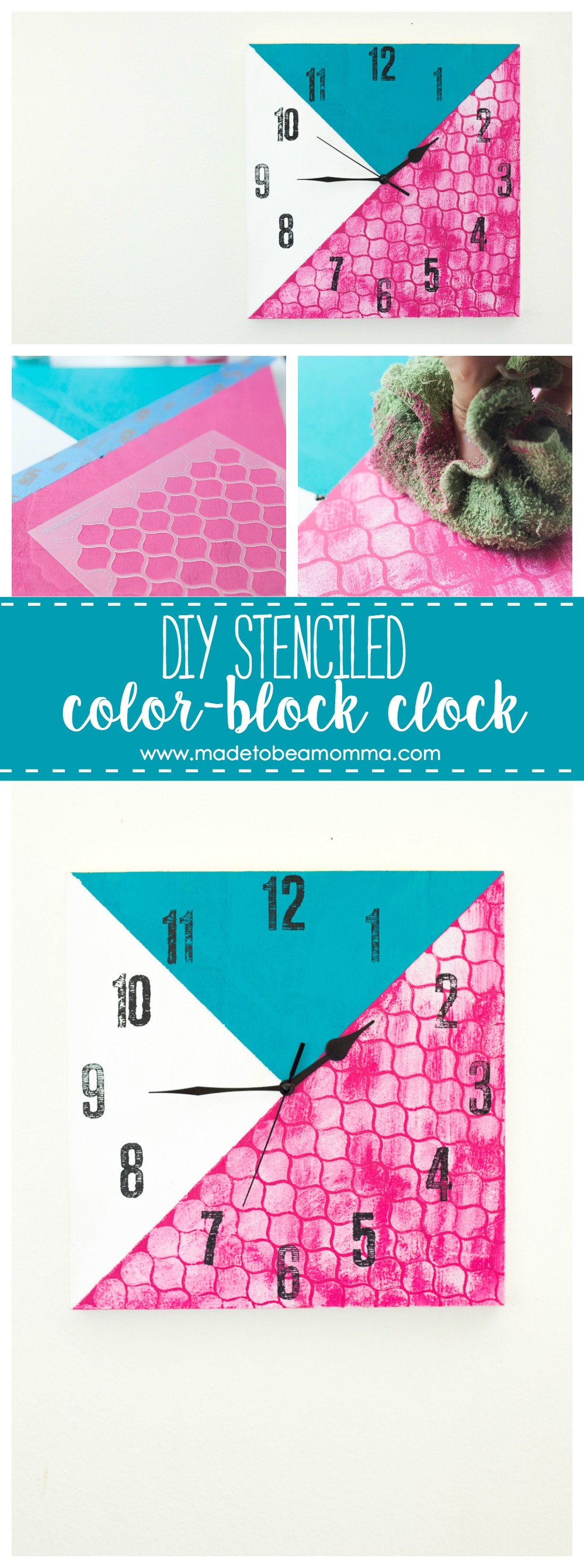 Diy Stenciled Color Block Clock