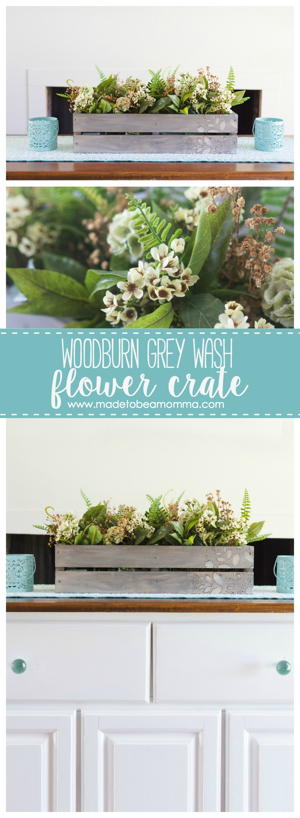Woodburn Grey Wash Flower Crate