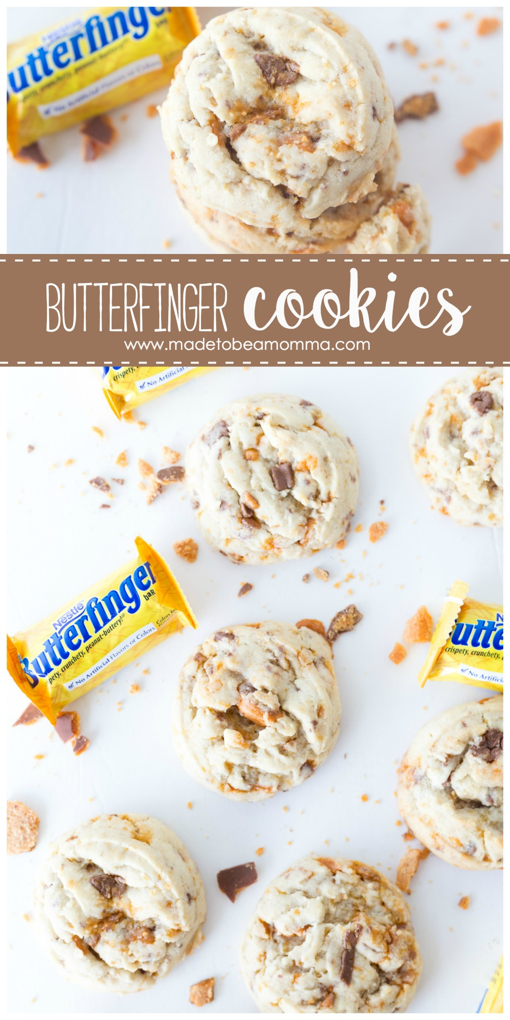 These Butterfinger cookies are soft, flavorful and delicious! They have a sweet taste and are filled with crunchy candy pieces! They are perfect for a Boo Basket. www.madetobeamomma.com