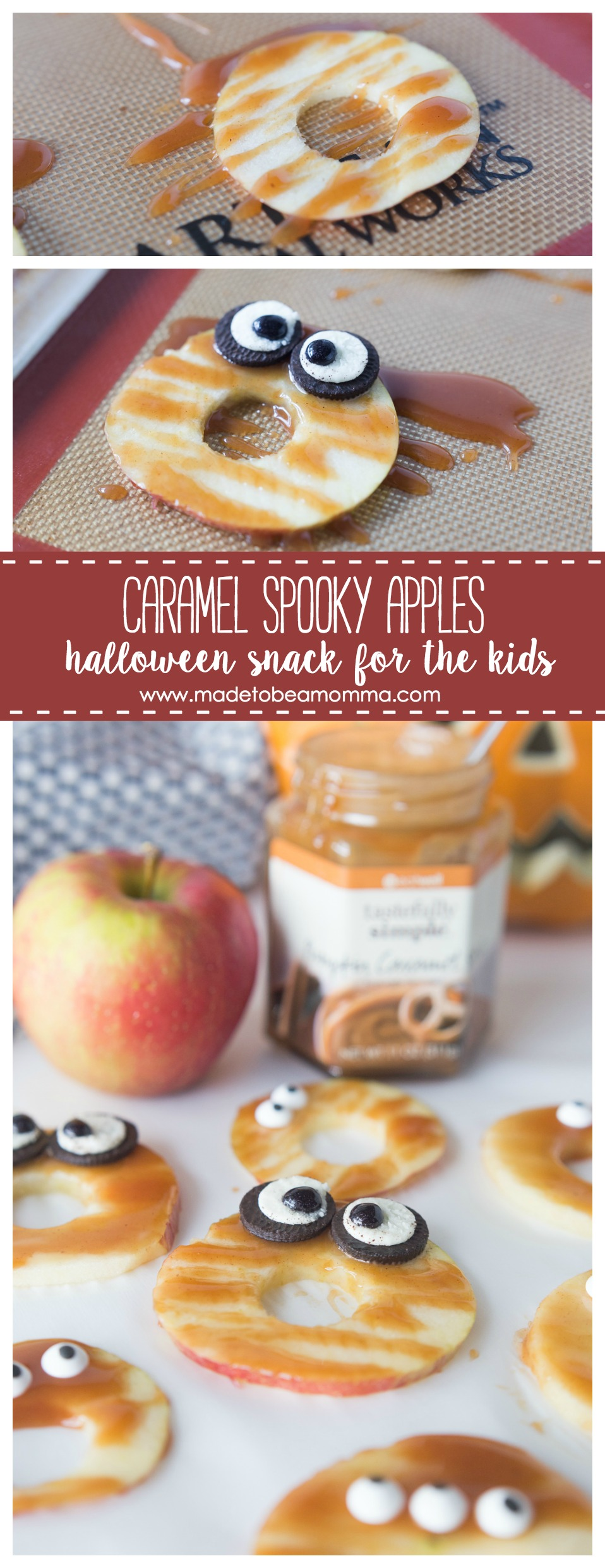 These Caramel Spooky Apples are a fun and delicious Halloween treat for the kids. The pumpkin caramel sauce is bursting will all your favorite fall flavors! www.madetobeamomma.com