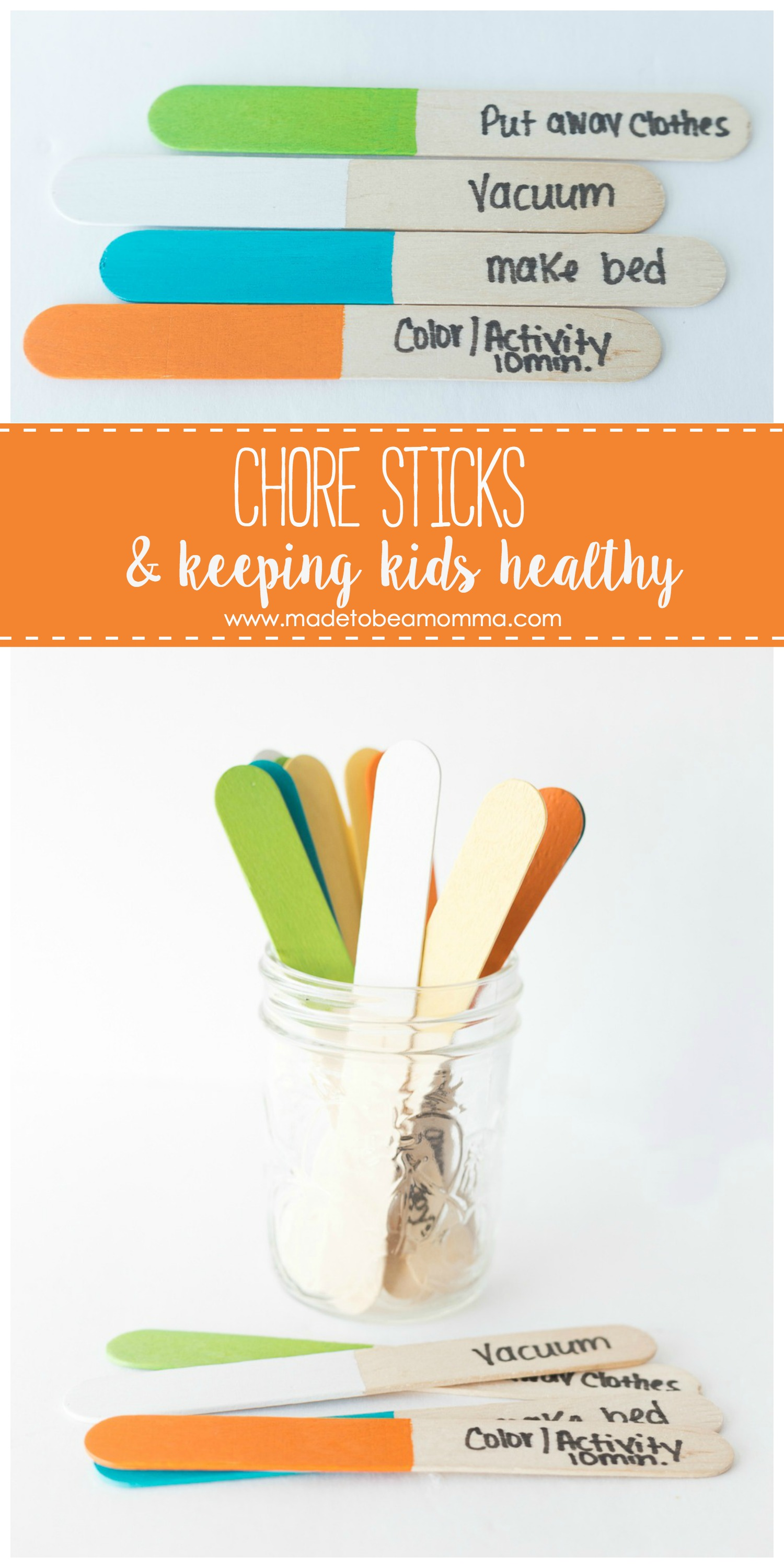 Chore Sticks and Keeping Kids Healthy with Oreck: having daily chores for your kids is not only important for teaching valuable life skills but also helps to keep the germs away!
