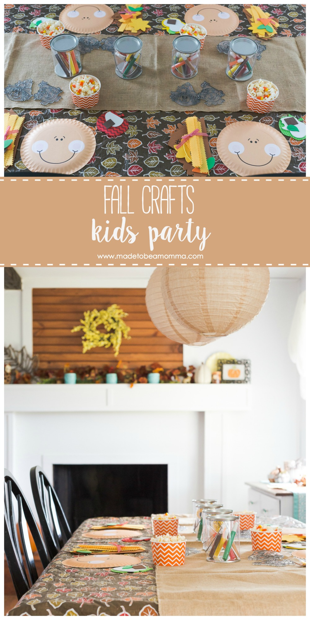 Fall Kids Craft Party: welcome the cooler weather with a day filled of crafts just for the kids! Scarecrows, apples and treats make this party one the kids will love!