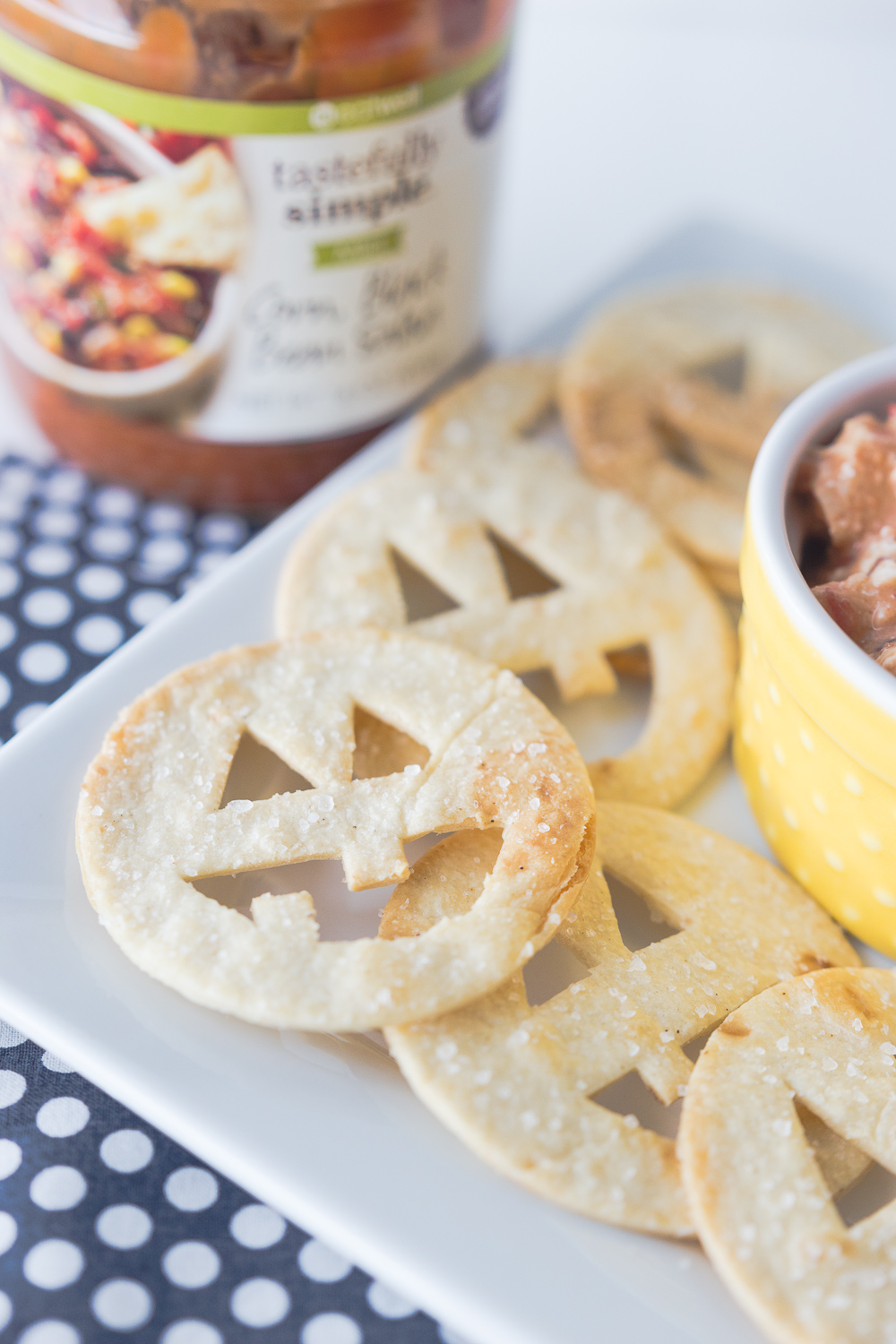jack o lantern tortilla chips salsa dip a delicious treat that is