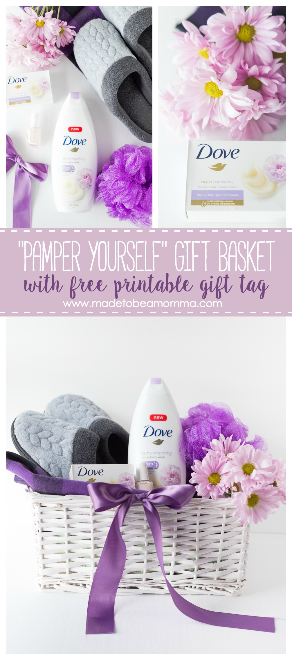 Pamper Yourself Gift Basket: give a sweet smelling gift to a friend who deserves a little pampering. www.madetobeamomma.com