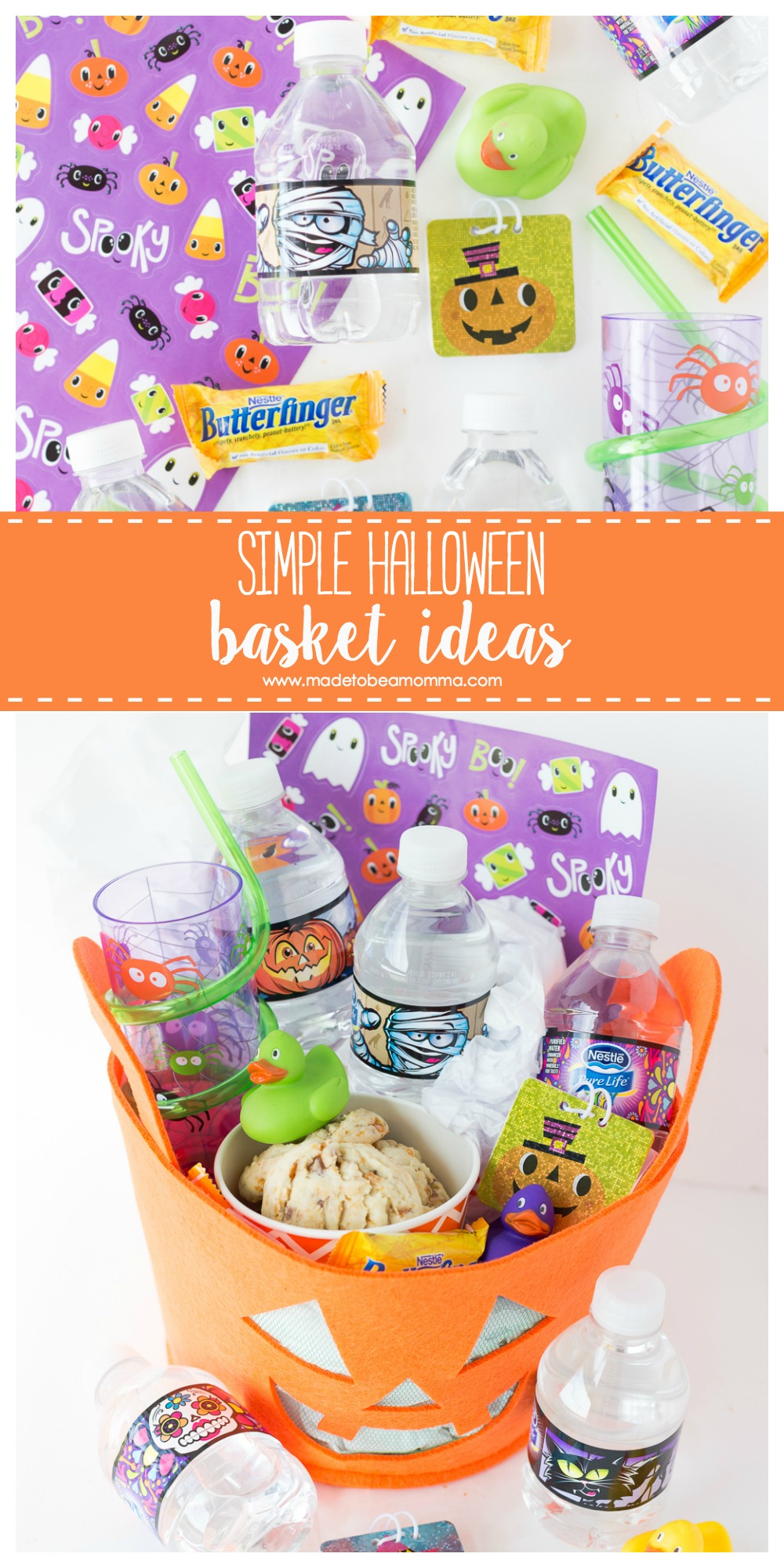 Simple Halloween Basket Ideas: www.madetobeamomma.com