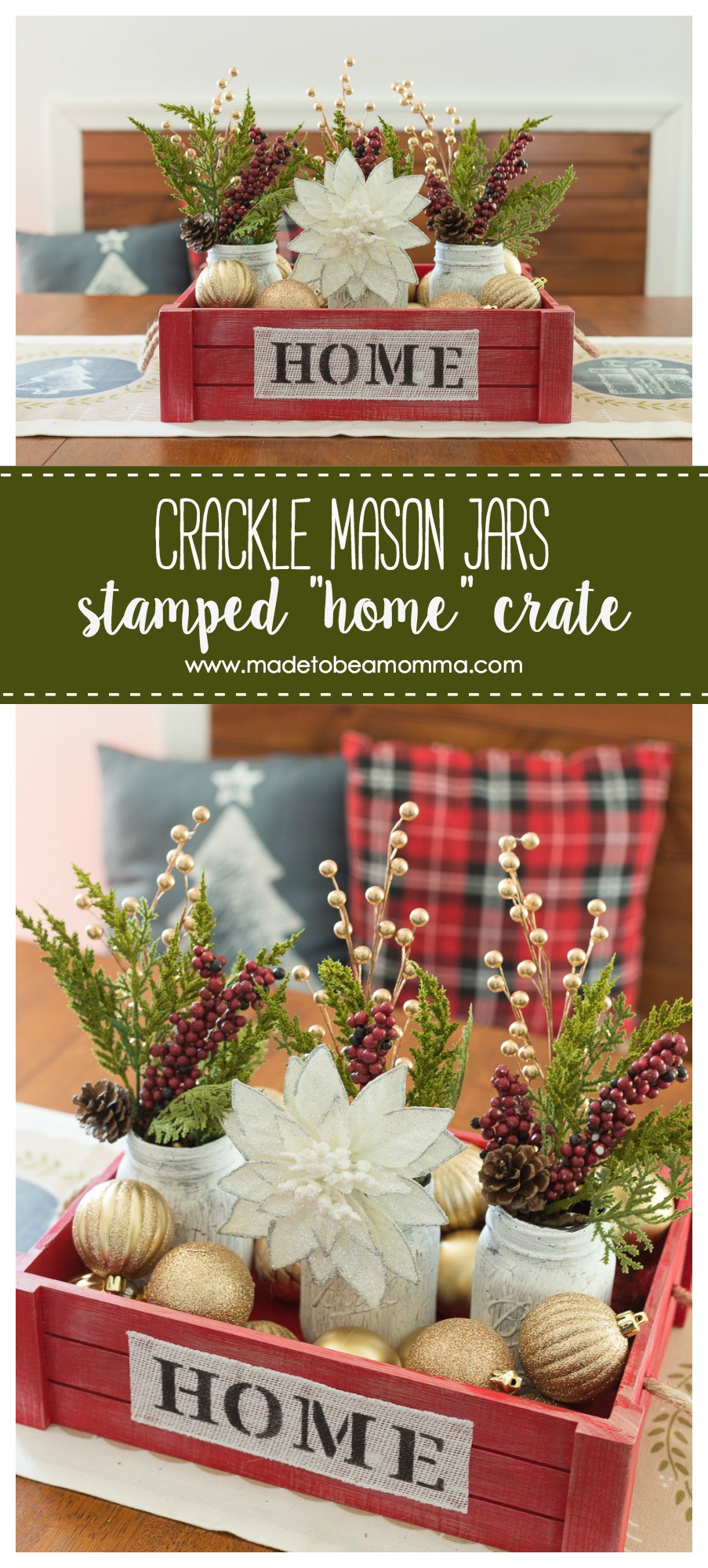 "This Crackle Mason Jars & Stamped ""Home"" Crate is the perfect home decor item that you can use for your Fall or Winter Decor. www.madetobeamomma.com"