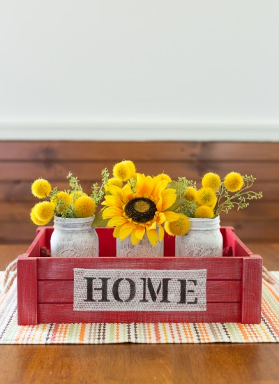 "Crackle Mason Jars & Stamped ""Home"" Crate"