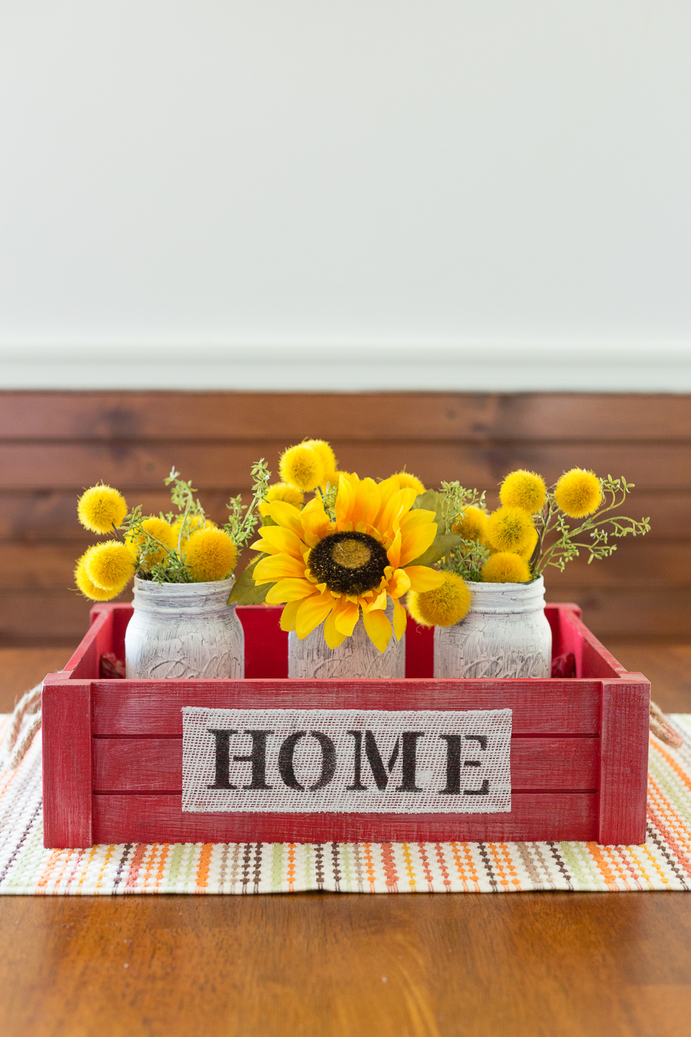 "This Crackle Mason Jars & Stamped ""Home"" Crate is the perfect home decor item that you can use for your Fall or Winter Decor."