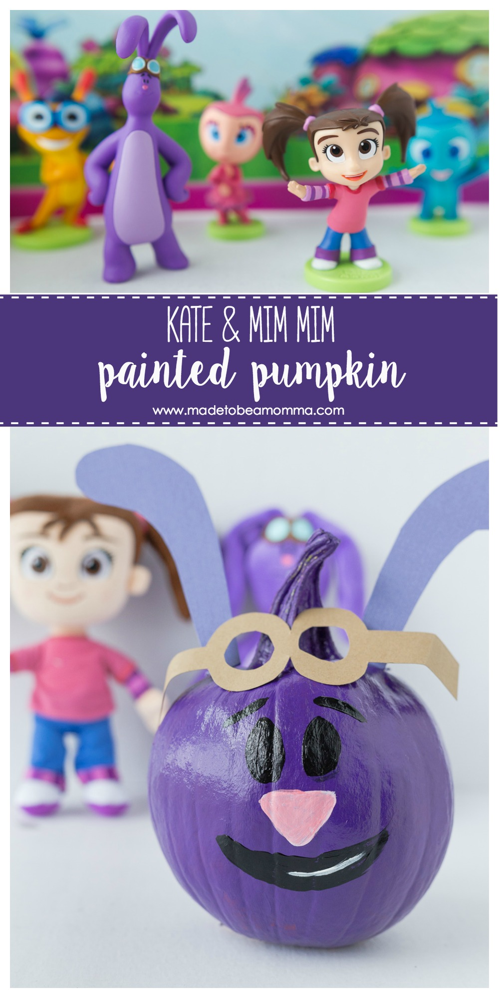 Kate & Mim Mim Pumpkin: a fun painted Mim Mim pumpkin the kids can enjoy! www.madetobeamomma.com