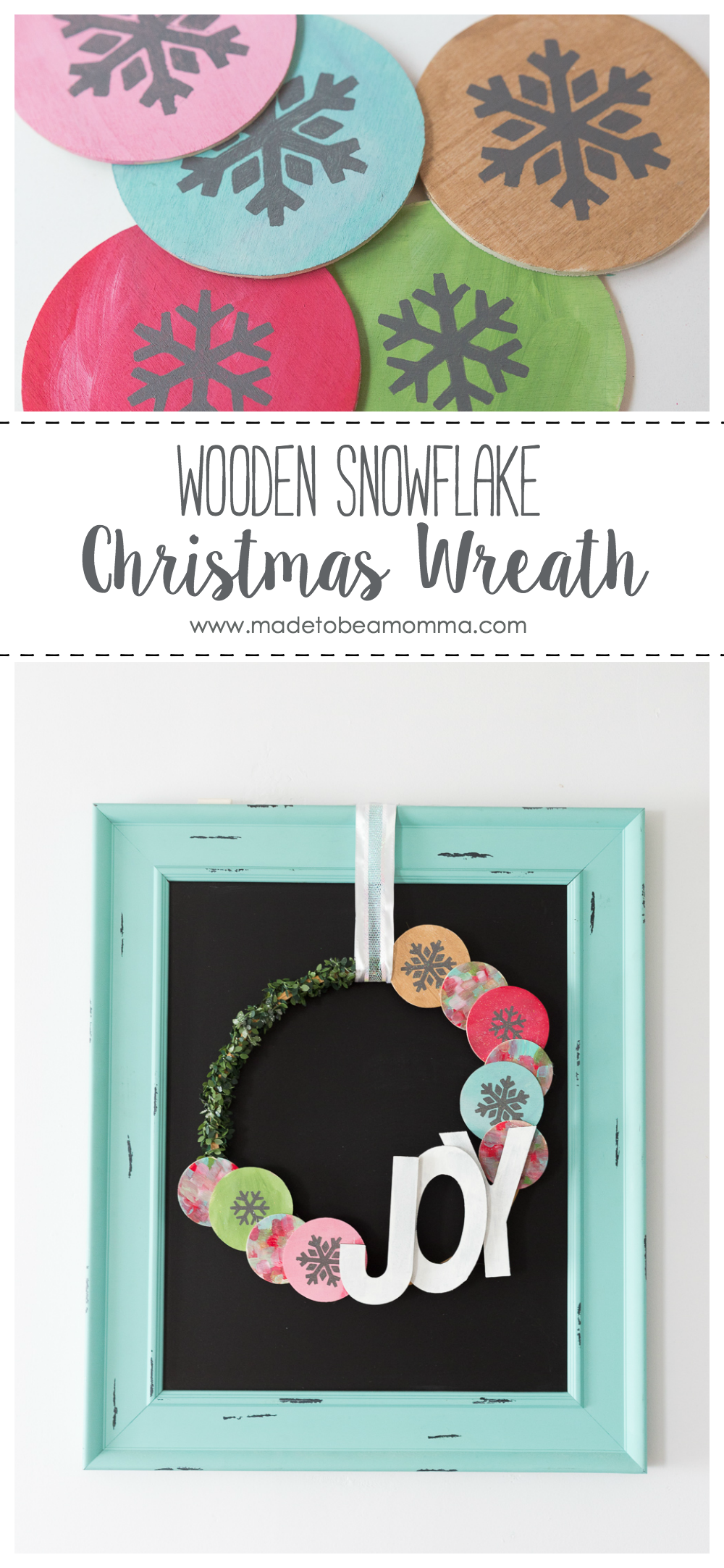 Wooden Snowflake Christmas Wreath: a non traditional Christmas wreath with pops of color, glitter and greenery! Mix and match the colors for any Christmas decor. www.madetobeamomma.com