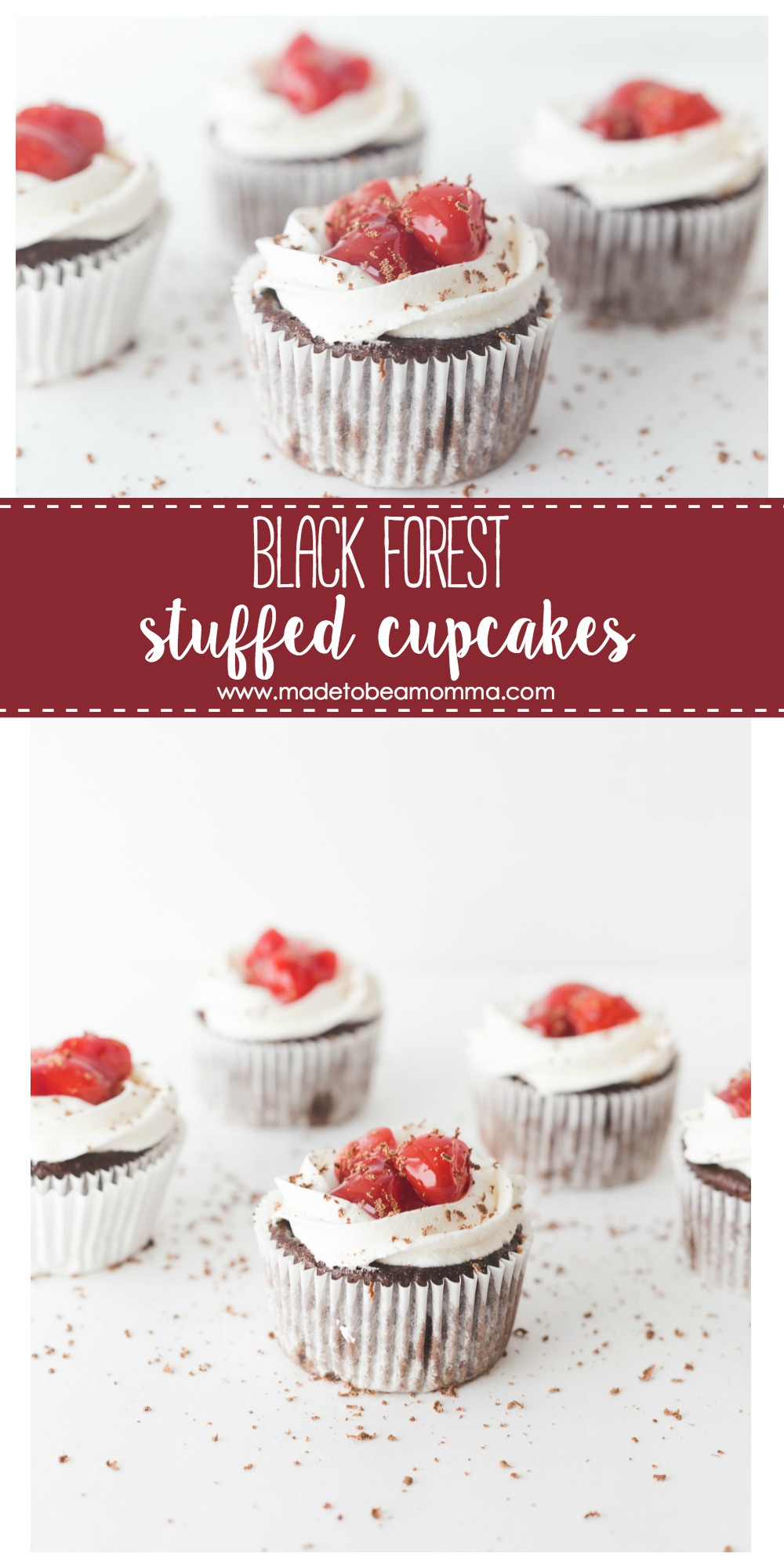 Black Forest Cupcakes: these chocolate cupcakes are stuffed and topped with cherry pie filling and a delicious cream cheese frosting. Great for holiday parties and everyday gatherings. www.madetobeamomma.com