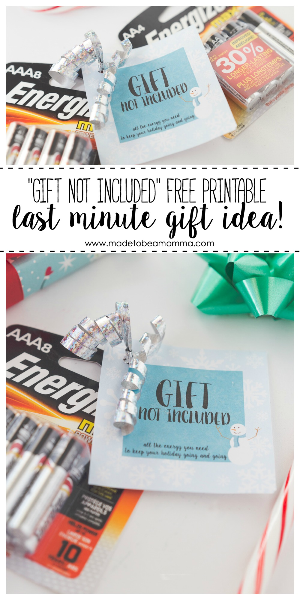Last Minute Gift Idea: don't forget the batteries this Christmas season!  Come print a fun gift tag for the gift that will keep your holiday cheer going and going!
