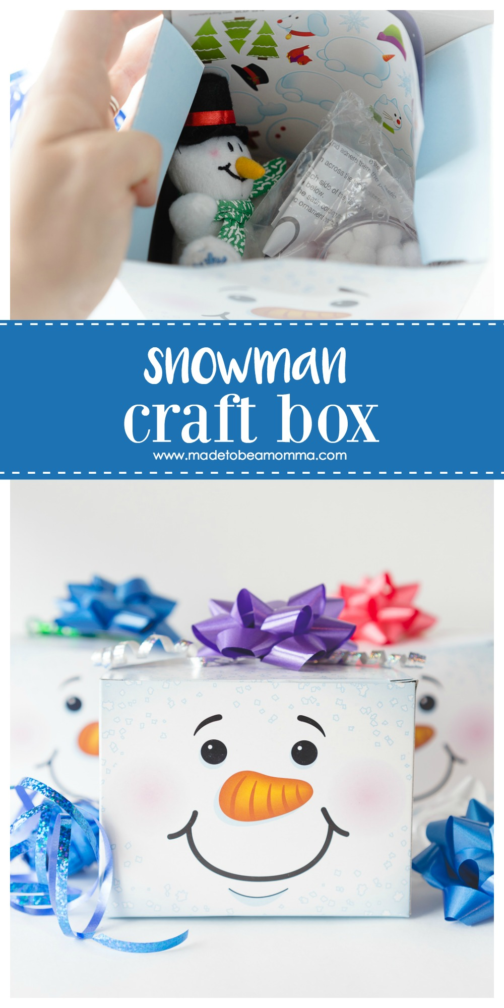 Snowman Craft Box: a little snowman box filled with goodies to help pass the winter day away.  www.madetobeamomma.com