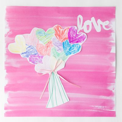 Paper Heart Bouquet Kids Craft
