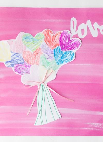Paper Heart Bouquet Kids Craft