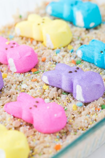 Easter Rice Krispie Treats with Bunny Peeps