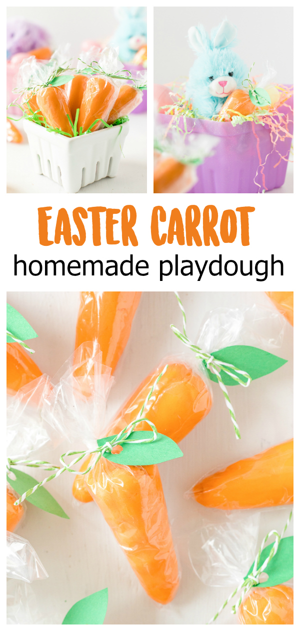 This homemade playdough recipe is great for egg hunts, school parties, and more! The Easter carrot shapes are perfectly festive for the Easter season!
