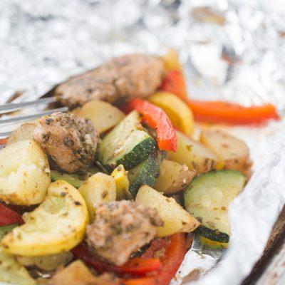 Turkey Sausage Foil Packet Meal