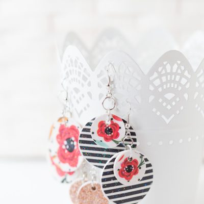 Floral Wooden Mod Podge Earrings