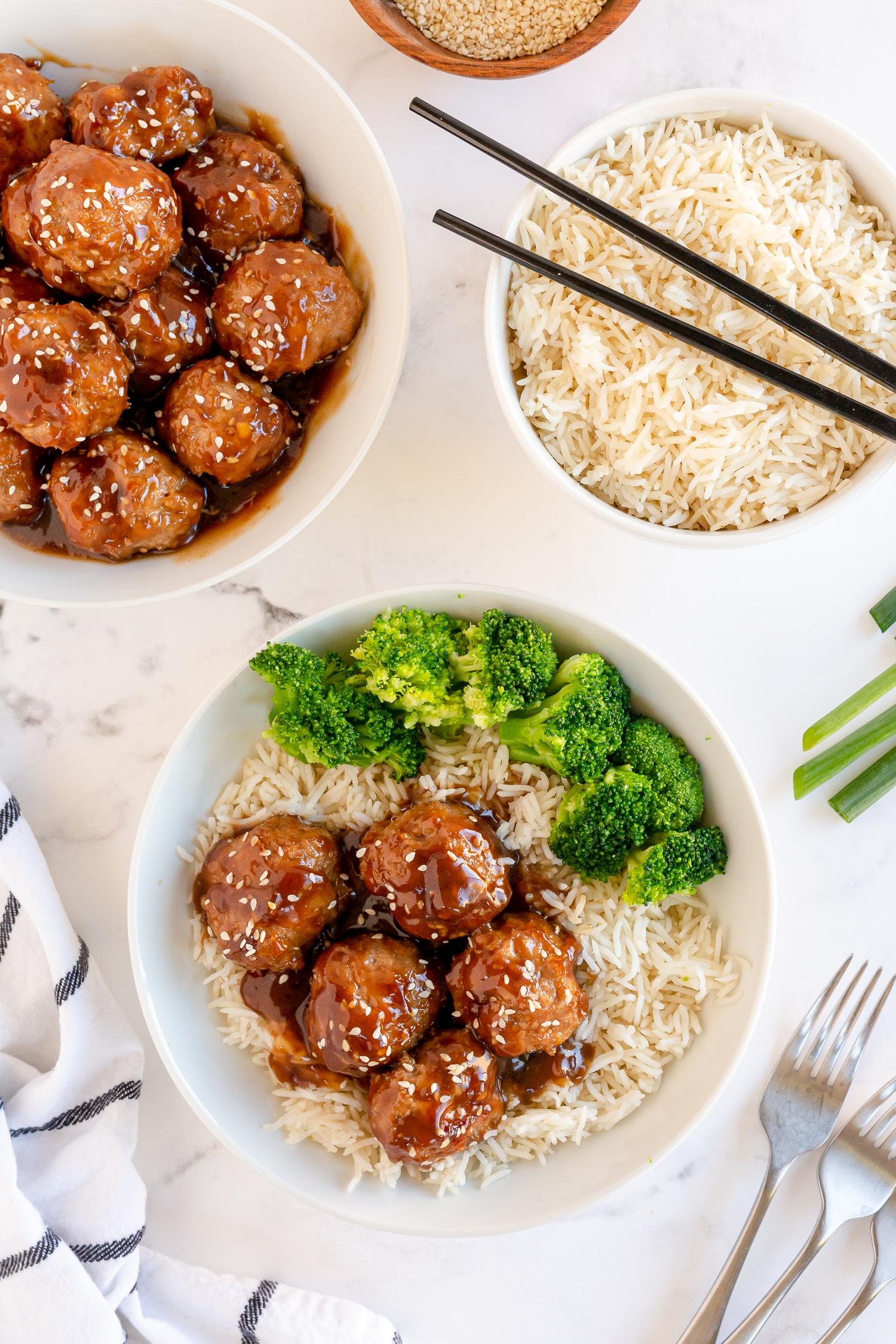 teriyaki turkey meatballs served on rice with broccoli