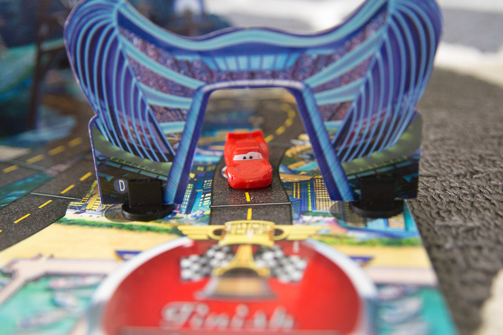This Cars 3 Risky Raceway Game will have your children racing over twists, turns, and bridges! This game is perfect for any Cars fans!