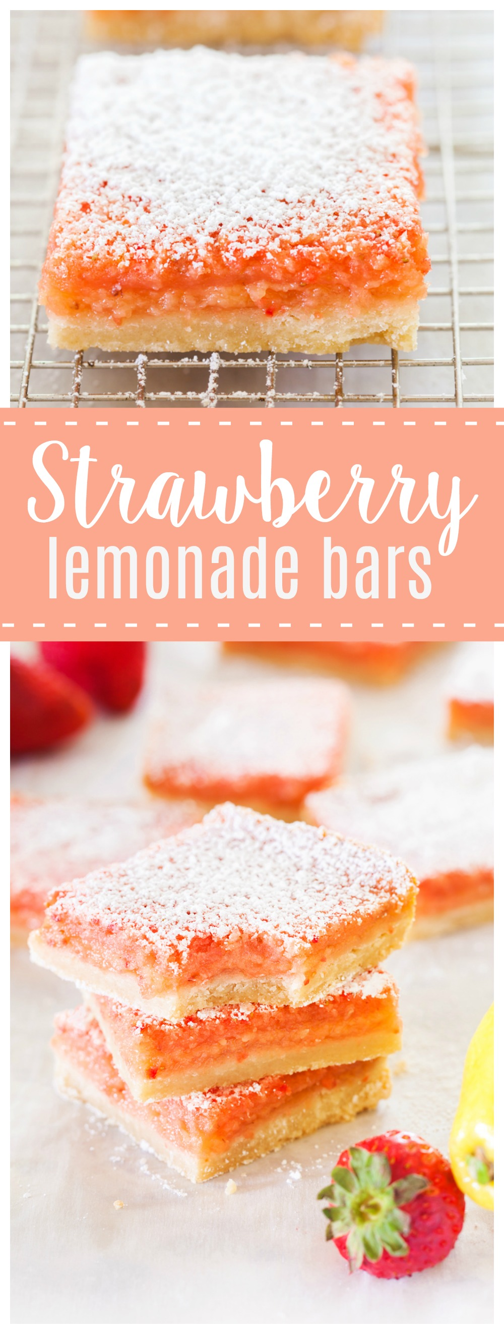 These Strawberry Lemonade Bars are a delicious bite of summer! Tangy lemonade and sweet strawberries make this a dessert you will be begging for seconds!