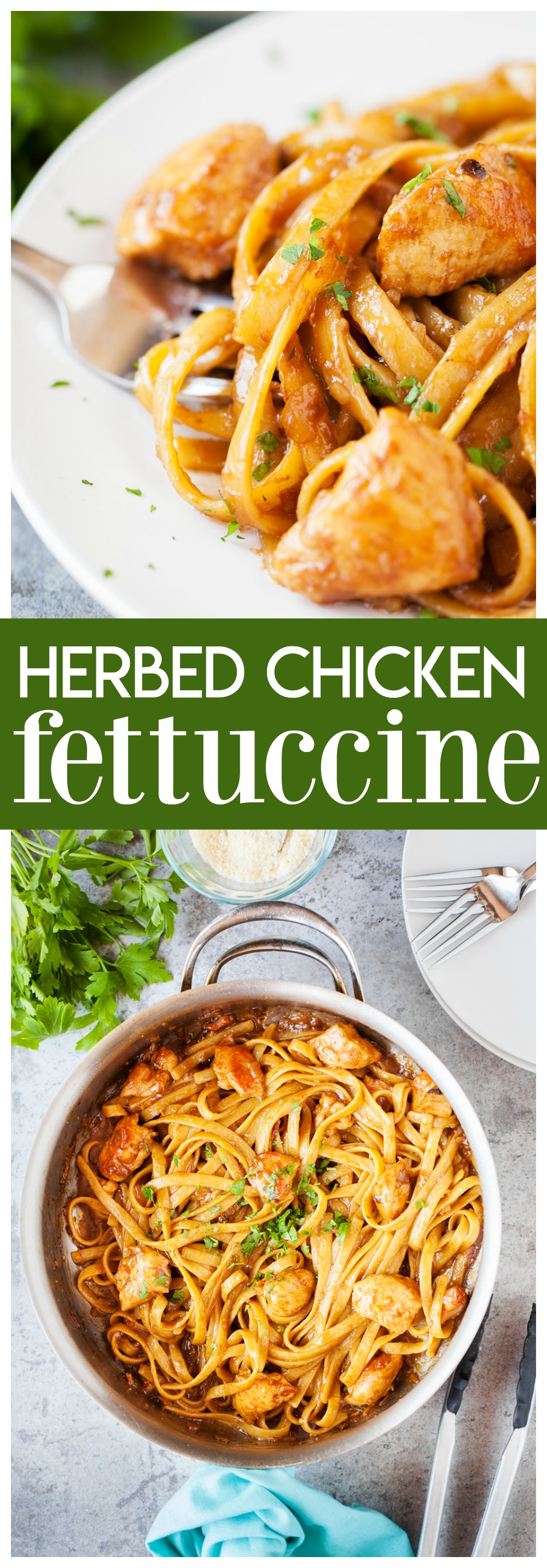 This Herbed Chicken Fettuccine is a delicious weeknight meal! You only need a few simple ingredients and about 30 minutes and dinner will be on the table!