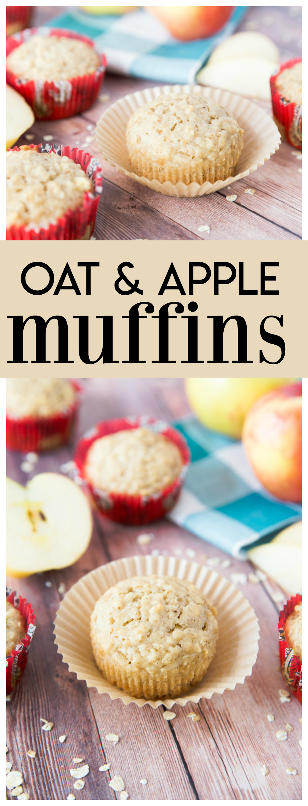 These Oat & Apple Muffins are the perfect breakfast muffin.  They have a touch of sweetness from the honey and apples and a hint of fall with the cinnamon spice.