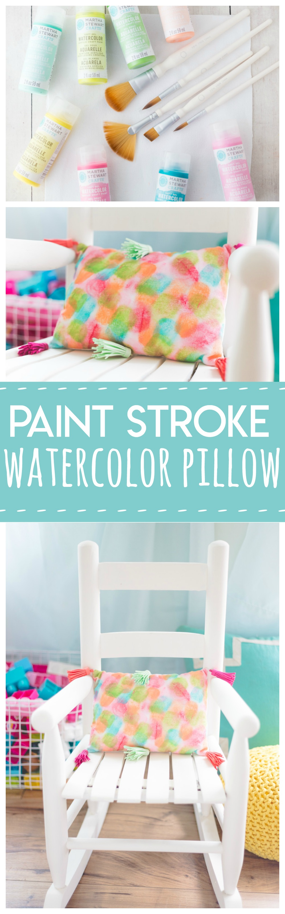 Paint Stroke Watercolor Pillow is a fun and simple project for any kids room!