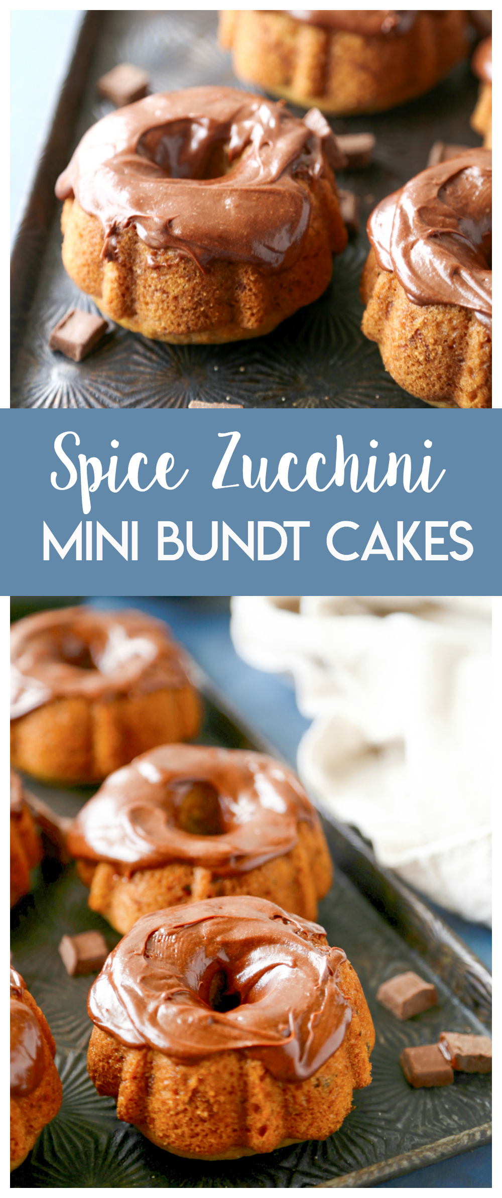 These Mini Spice Zucchini Bundt Cakes are a delicious way to celebrate the fall season!  Top with a delicious chocolate frosting and these little cakes can't be beat!