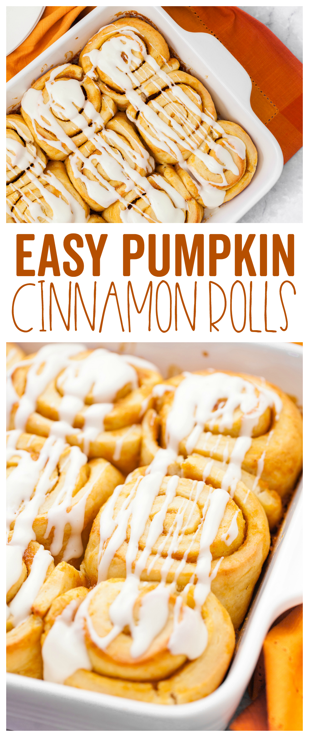 This easy pumpkin cinnamon roll recipe is great for the fall season.  Pumpkin, cinnamon, and 60 minutes later you have a delicious treat!