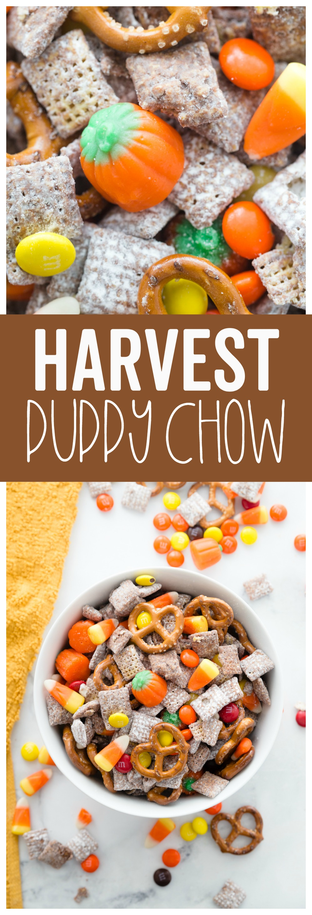 This Harvest Puppy chow is an easy fun fall treat!  It combines the classic flavors of puppy chow with some new ones!