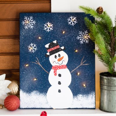 DIY Lighted Snowman Canvas