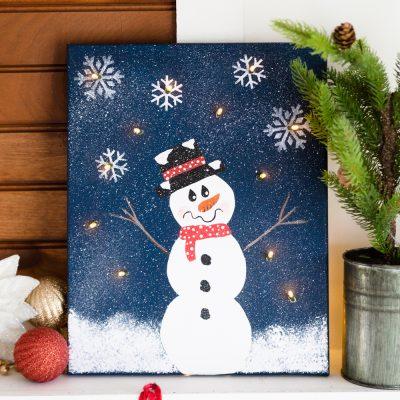 DIY Lighted Snowman Canvas