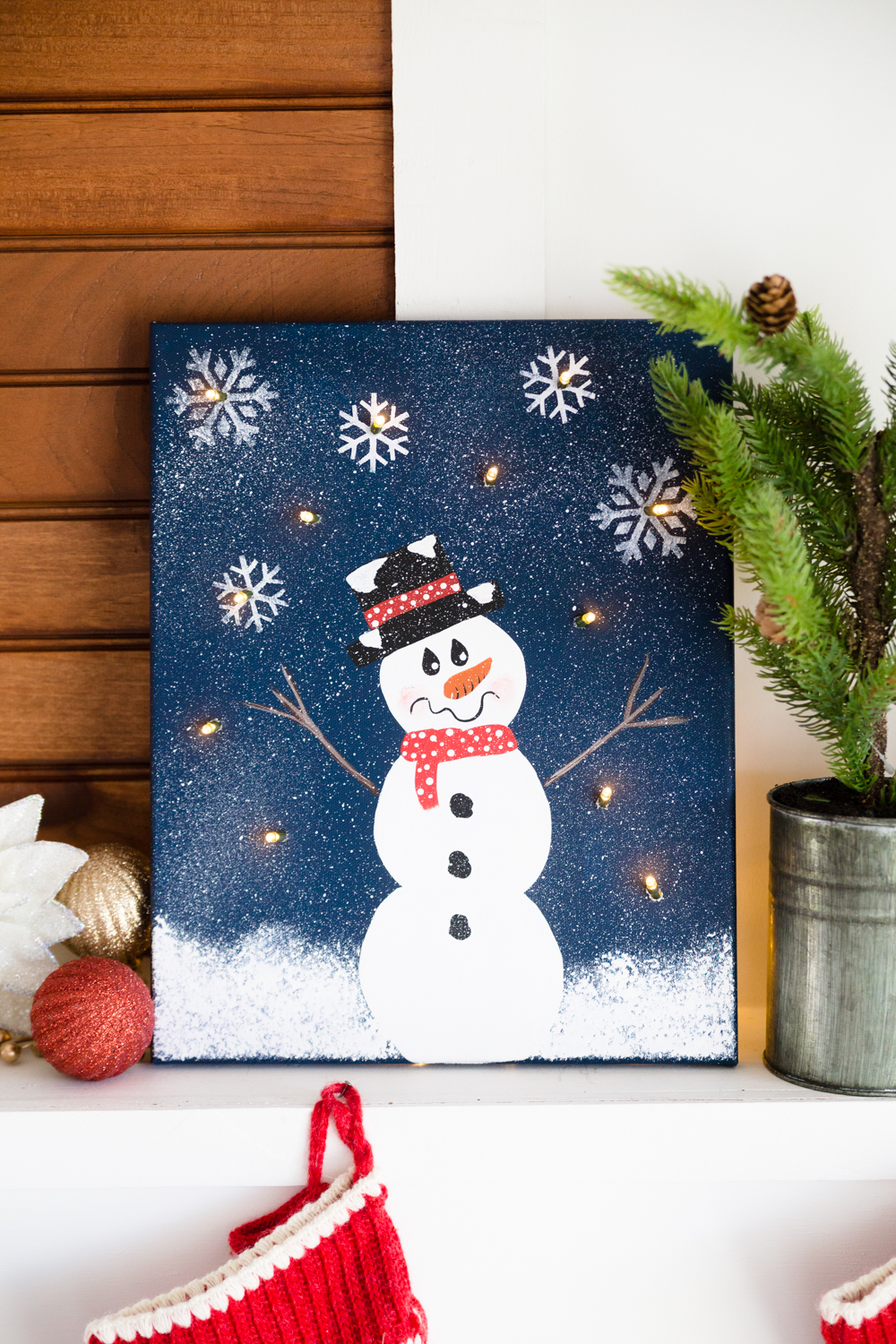 Diy Lighted Snowman Canvas Made To Be A Momma