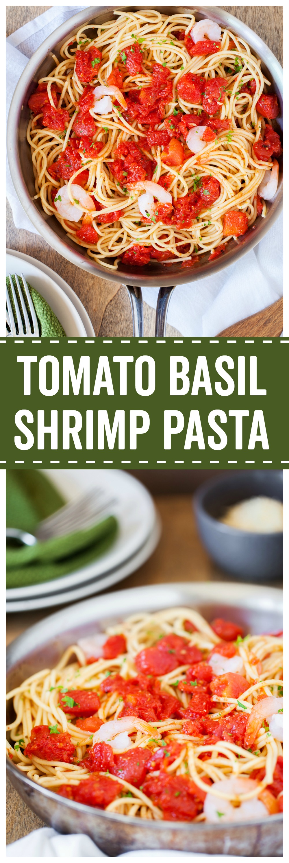 Tomato Basil Shrimp Pasta is a simple and delicious meal that is great for busy week nights!