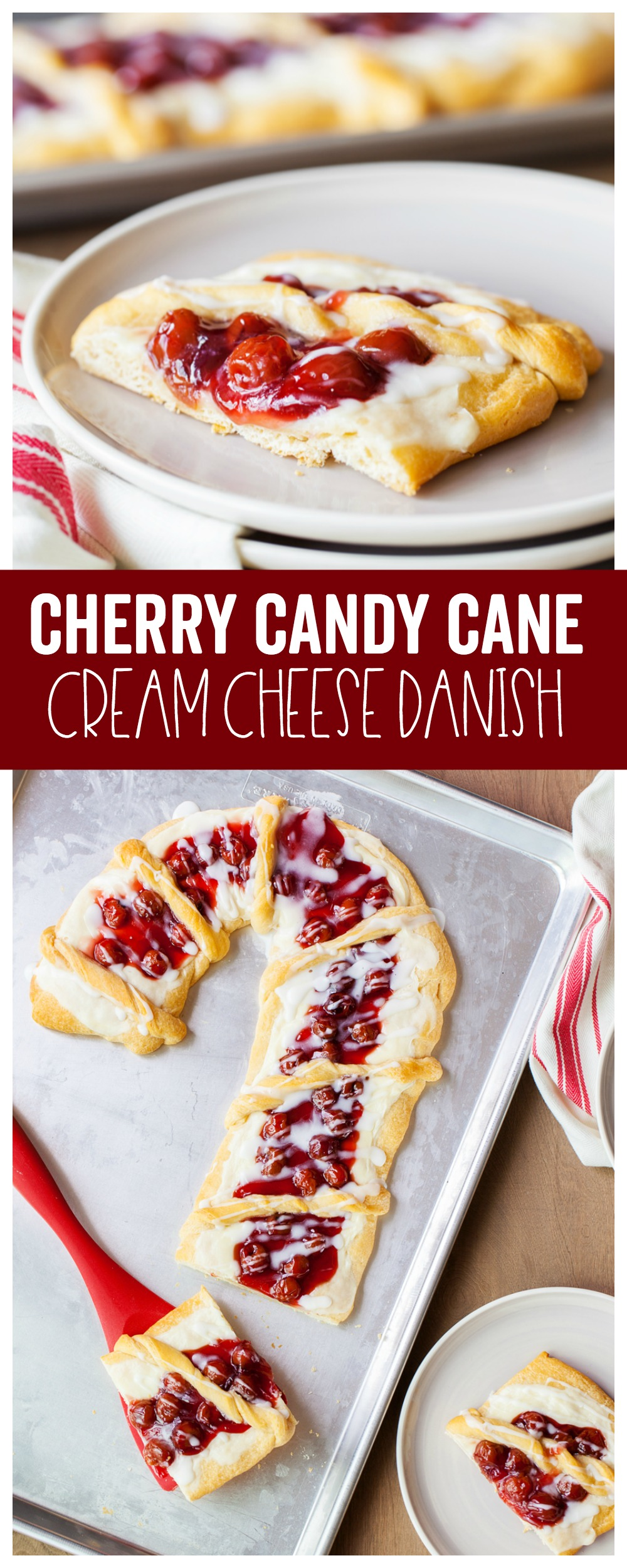 Candy Cane Cherry & Cream Cheese Danish is the perfect sweet dessert for your holiday season. You only need a few simple pantry staples to make this delicious recipe.
