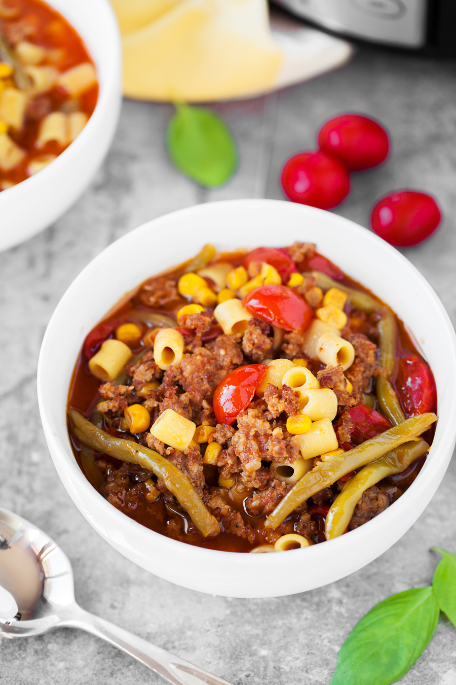This Slow Cooker Sausage Ditalini soup is full of sausage, tomatoes, green beans and flavor! It's perfect for the cold winter months!
