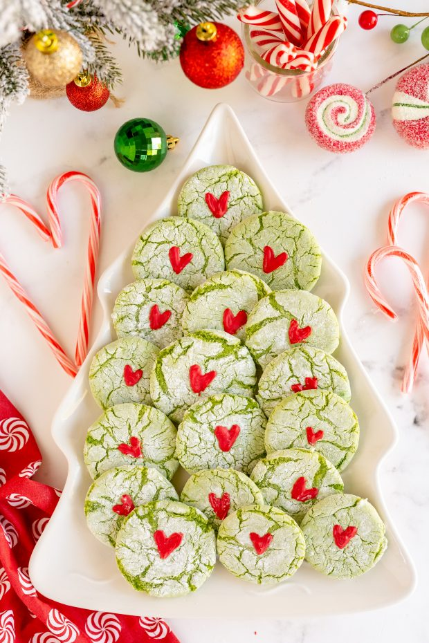 grinch cookies on tree tray