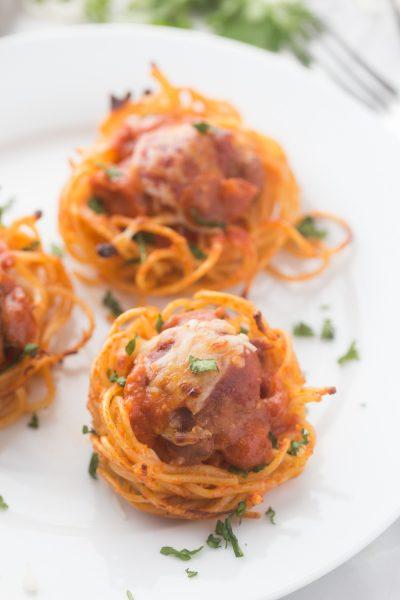Spaghetti & Turkey Meatball Bites