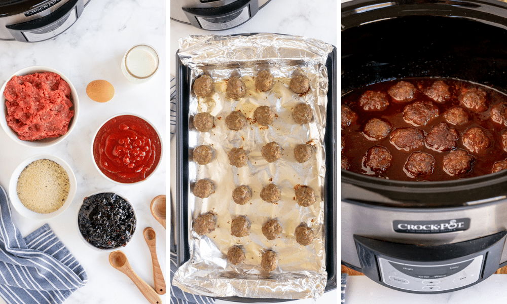cooked meatballs place in slow cooker with grape jelly ingredients