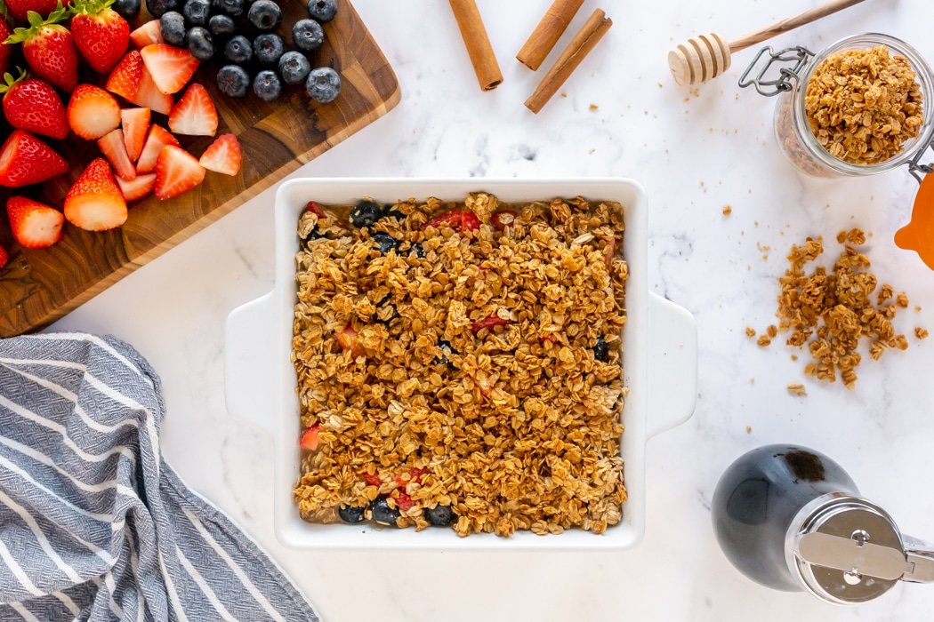 baked oatmeal with granola on top