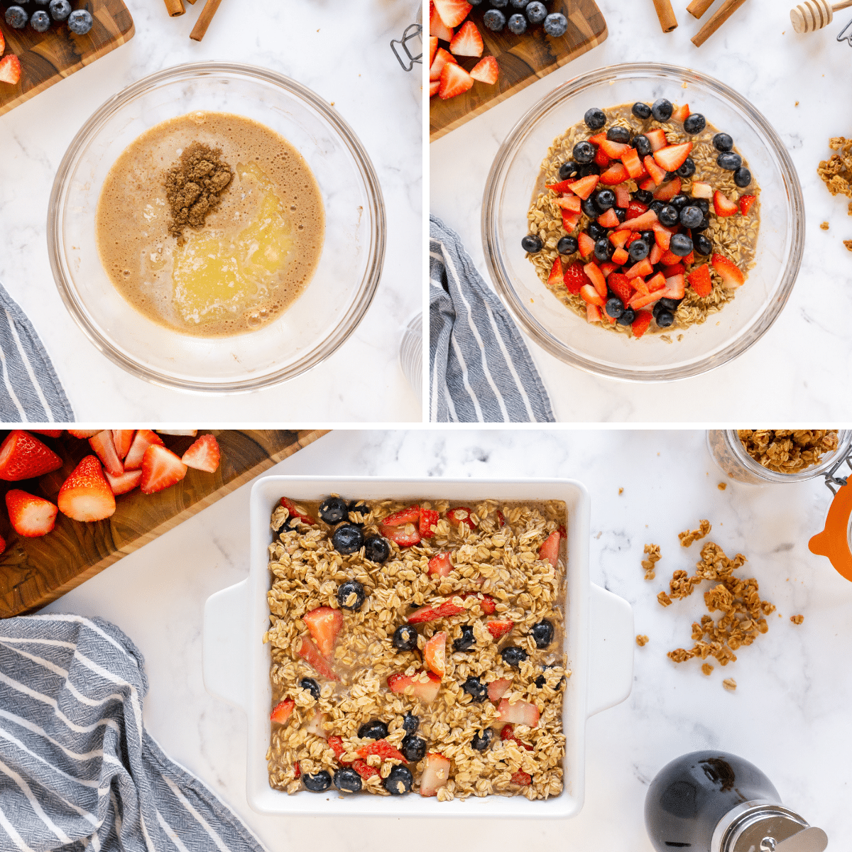 process of making berry baked oatmeal