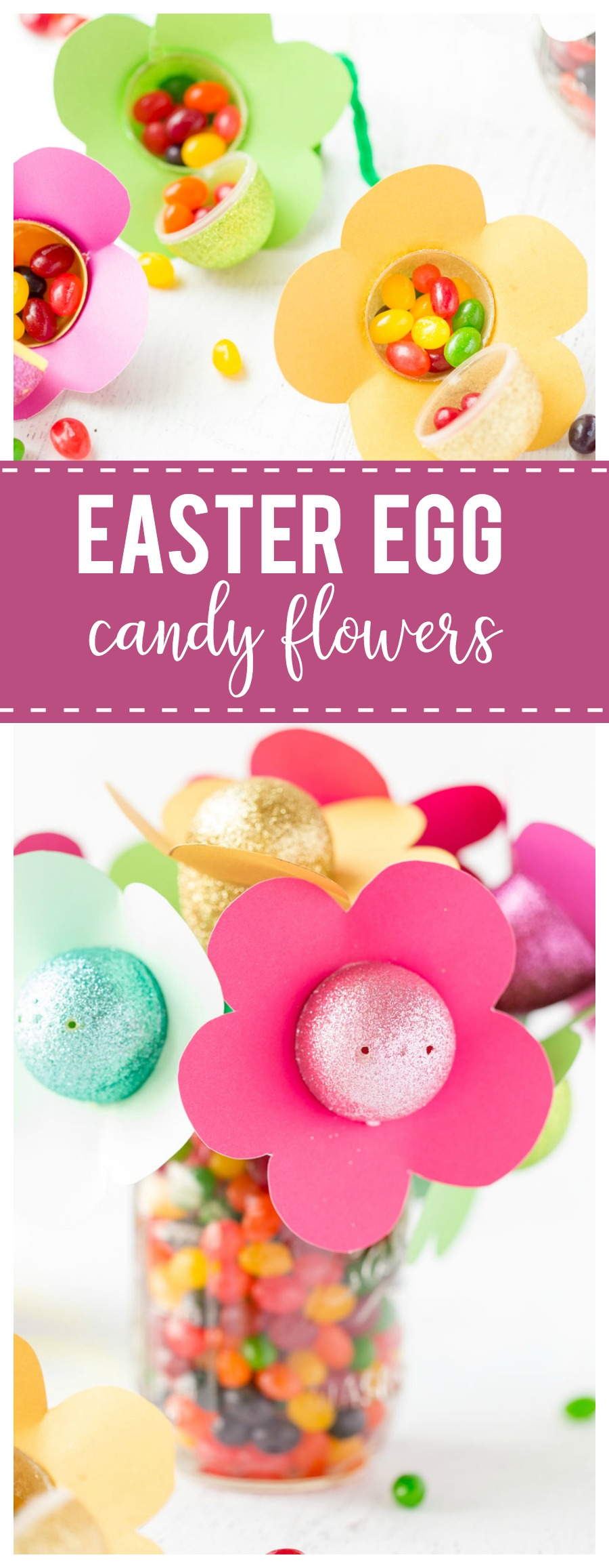 Easter Egg Candy Flowers: a pretty and yummy decor idea that is perfectly festive for your Easter dinner table.