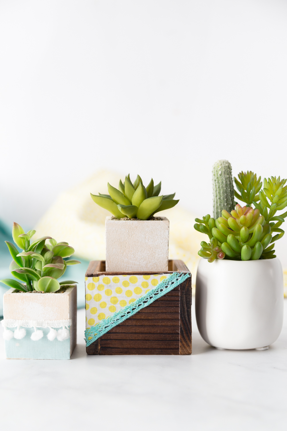 DIY Fabric Embellished Succulent Planters
