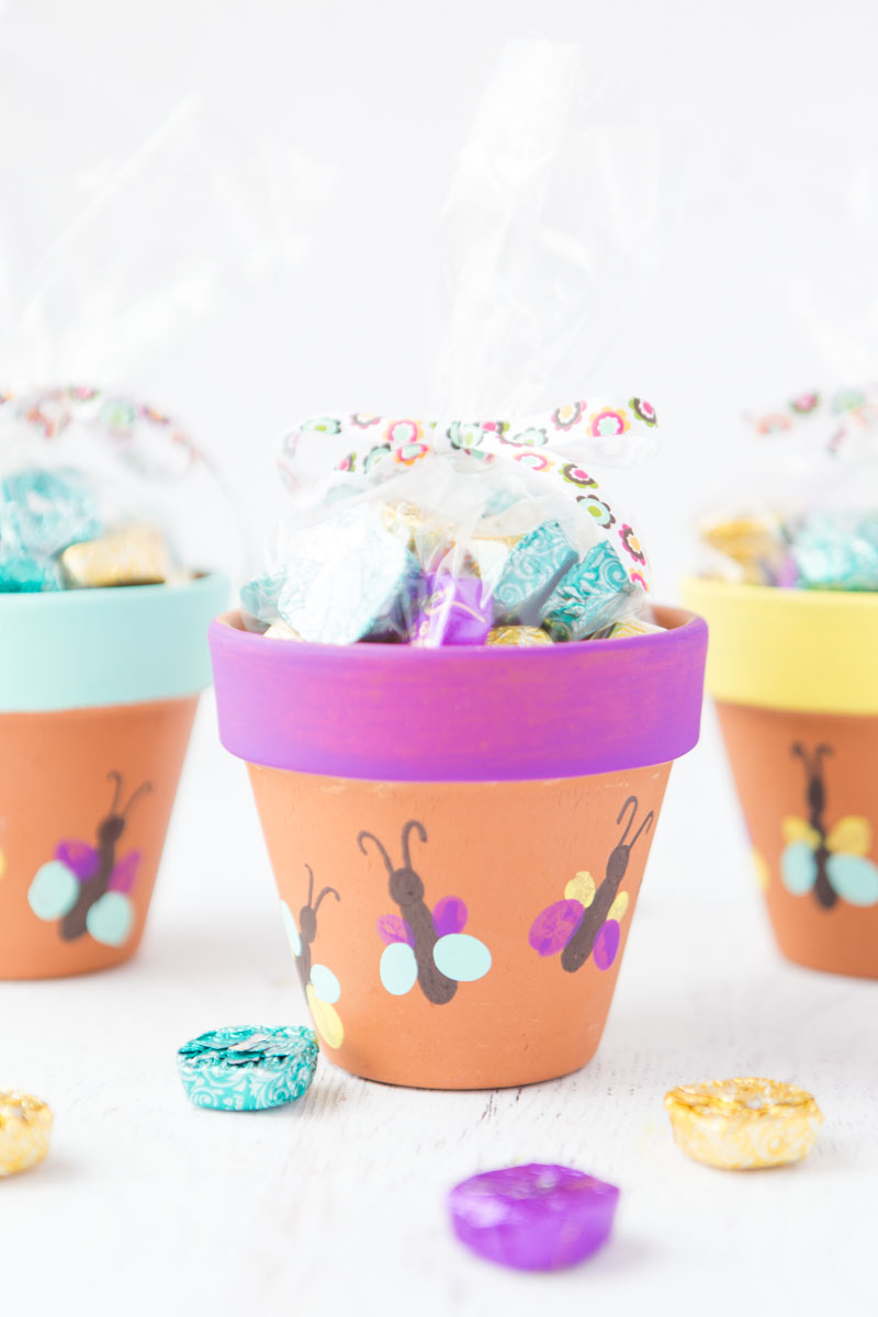 Thumbprint Butterfly Flower Pots: a fun and simple craft idea the kids will love! It makes a great keepsake idea for Mothers Day