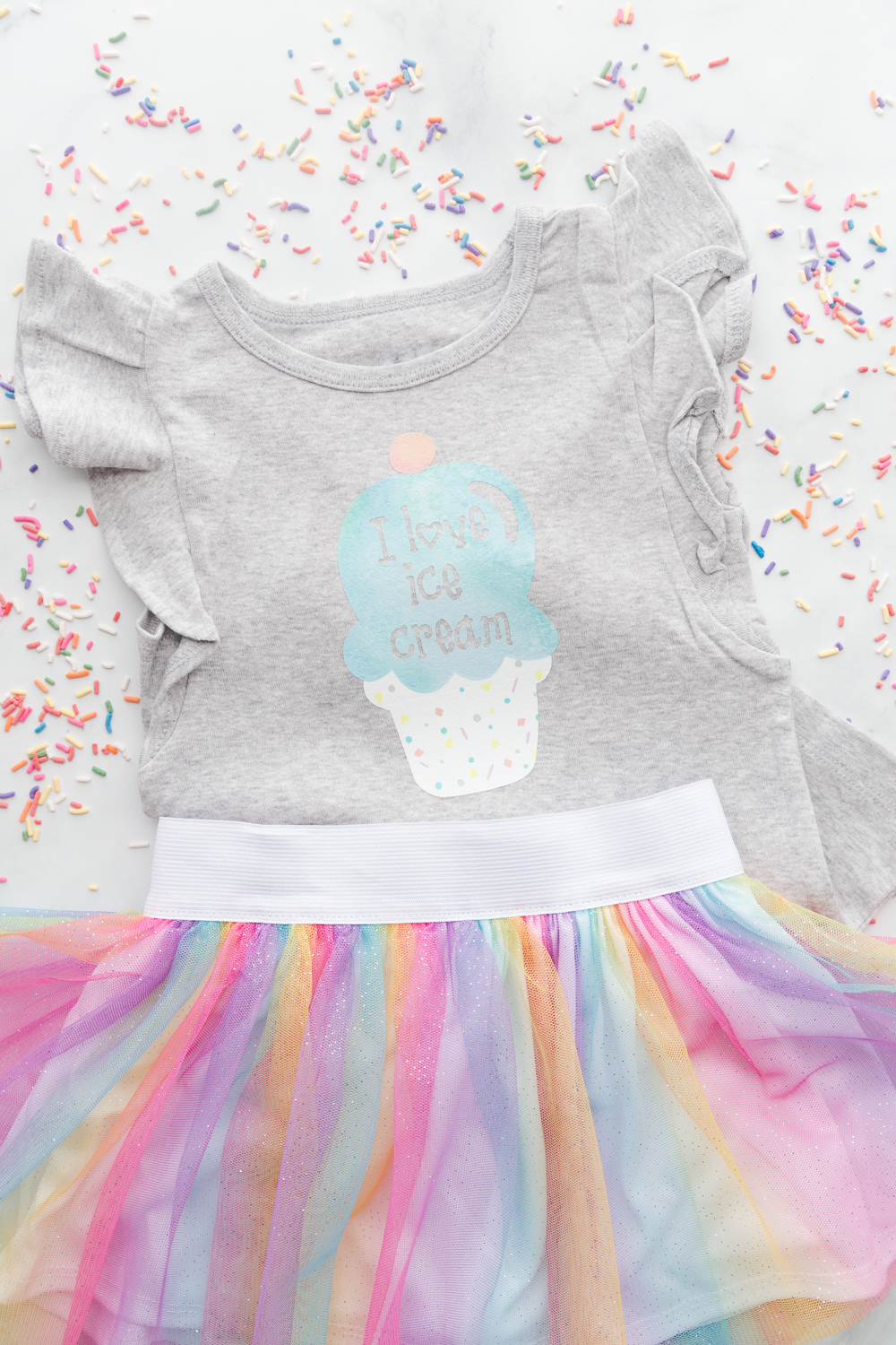 I Love Ice Cream Toddler Shirt With Cricut Patterned Iron